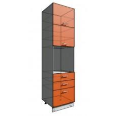 Пенал 2340 60 см 3 ящика + Духовка + 2 Двери гор (550)