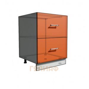 Нижний шкаф 60 рабочий 2 ящика (500)