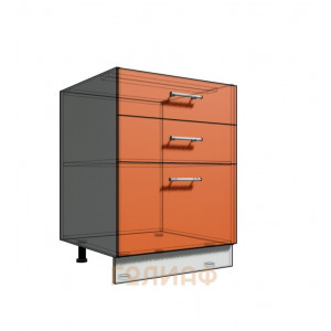 Нижний шкаф 60 рабочий 3 ящика (500)