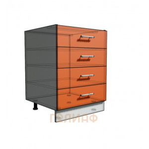 Нижний шкаф 60 рабочий 4 ящика (500)