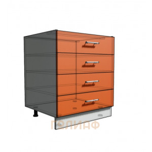 Нижний шкаф 70 рабочий 4 ящика (500)