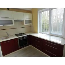 Кухня Матовый белый + глянец Бордо 2,2х2,4 метра