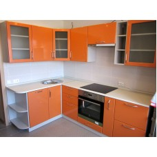 Кухня глянцевая Оранжевая 1,6х2,4 метра
