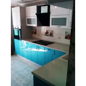 Кухня глянец Белый + Циан 2,6х1,6 метра